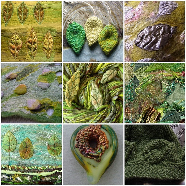 1. Leaf study 2. Green leaves 3. Forest Floor Scarf detail 4. Šalikėlis -Alyvuogių skonis/scarf 5. Leafy handspun 6. Scraps 7. #256 Leaves of three 8. My heart is green with envy 9. Leaf edged  Carolyn Saxby - Mixed Media Textile Art