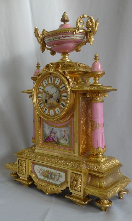 Antique French mantel clock, porcelain and ormolu, Napoleon III period. - Gavin Douglas Antiques