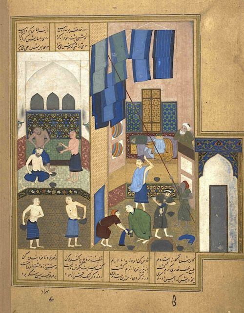 Harun al-Rashid and the barber. Ascribed in notes to Bihzad and to Mirak (BL Or.6810, f. 27v)
