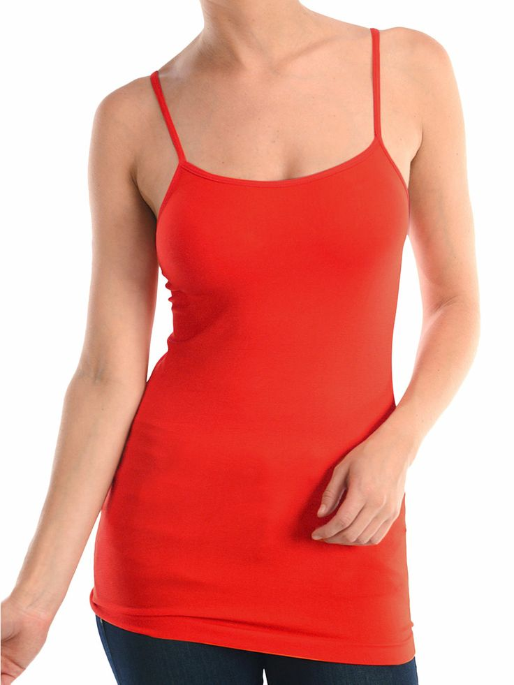 DK Monarchy Women's Nylon Plain Stretch Long Cami Camisole Top - more colors available!