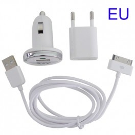 3 in 1 (EU Plug Home Charger, Car Charger, USB Cable) Travel Kit for iPhone 4 & 4S, iPhone 3GS/3G, iPod Touch - Gudang Gadget Murah