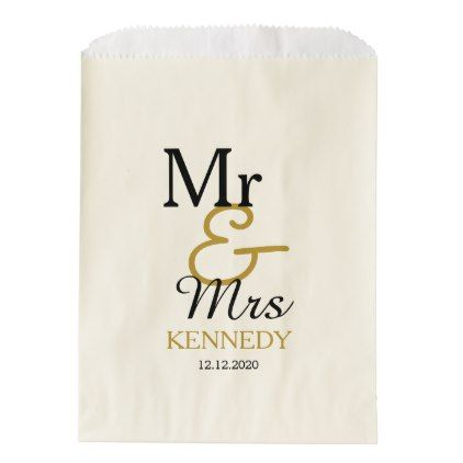 #bride - #Simple Black And Gold Mr And Mrs Wedding Favor Bag