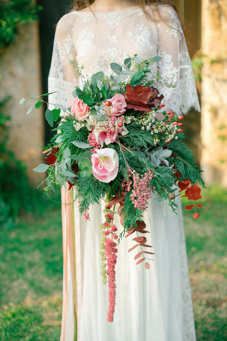 Букет невесты в стиле бохо рустик, белых