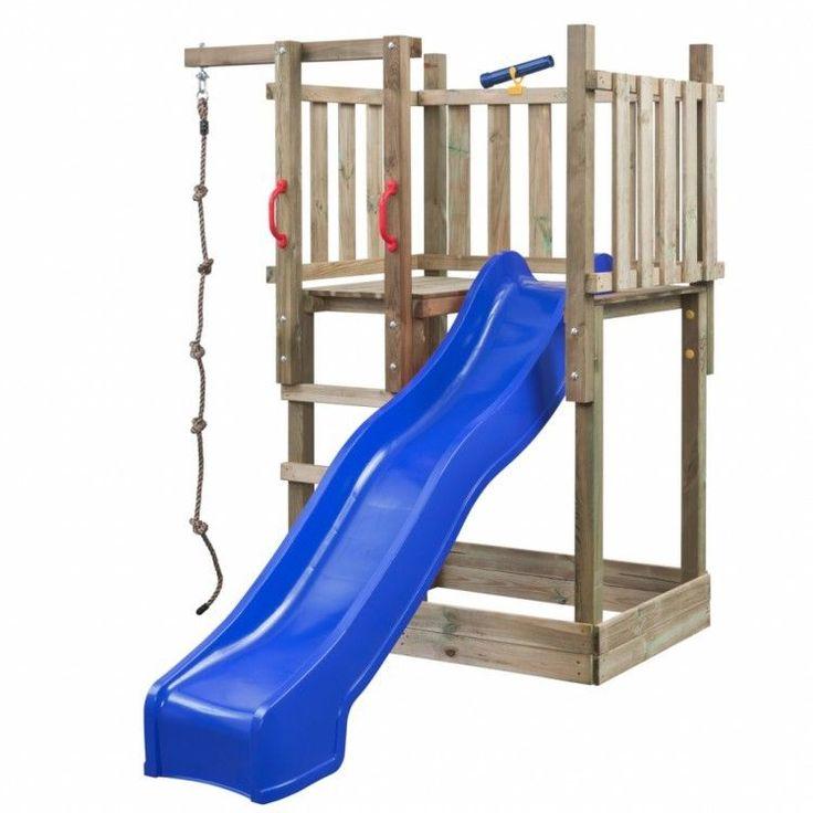 Kids Playhouse Set Ladder Slide Wooden Playground Children Blue Rope Telescope #KidsPlayhouseSet