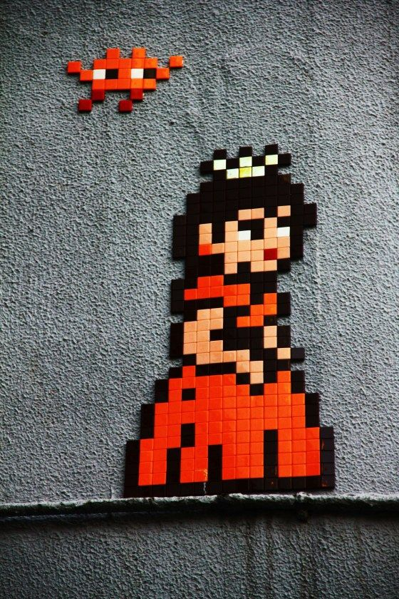 Princess by Space Invader. On the wall of Hotel Princess, a love hotel in the heart of Shibuya. Tokyo, Japan. 3aug14.