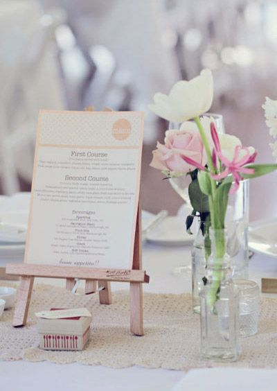 16 Creative Menu Cards And Displays Small Easel Table Numberswedding