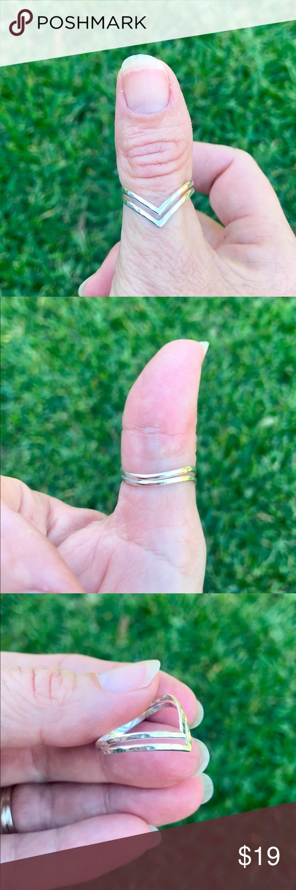 Sterling Silver Hammered Double V Thumb Ring Sterling silver hammered double v thumb ring in various sizes from size 3 to 12. It is not stamped sterling silver. This ring can be worn as a ring, thumb ring or toe ring. Jewelry Rings