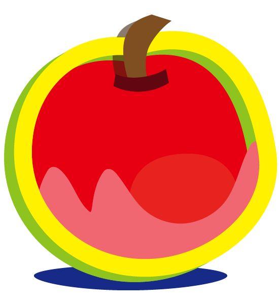 りんごとバナナ リンゴ イラスト