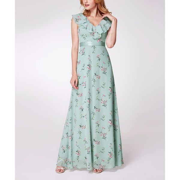 Ever Pretty Mint & Pink Floral Ruffle-Neck Maxi Dress ($65) ❤ liked on Polyvore featuring dresses, mint maxi dress, ruffle maxi dress, pink maxi dress, mint green maxi dresses and white ruffle dress