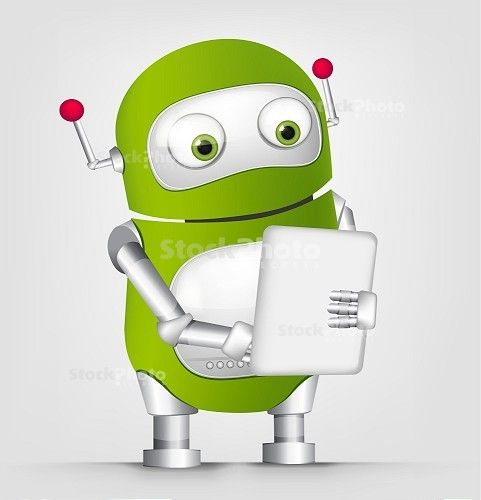 Cartoon Character Cute Robot Isolated On Grey Gradient Background. Tablet  User. Vector EPS 10