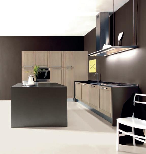 Licia kitchen is made with traditional materials like lightly striped solid oak wood but using innovative technical features and non-toxic water based paints.