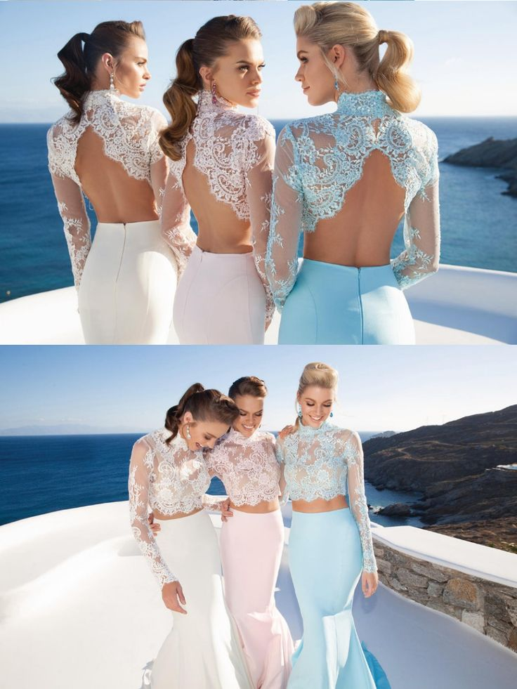 New fashion high neck long sleeve 2 piece prom dresses 2015 open back long prom dresses