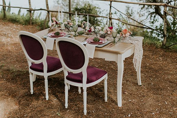 Photo by Intimate Love Memories - Organised and designed by Belli Momenti Weddings - Furniture and tableware from bellimomenti.gr - Flowers by Leonidas Rammos - Stationery by Love Me Do! - Macrame runner by Boho choco