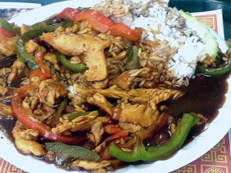 Best deep dark flavorful thai sauce in dish Prince chicken at Bangkok express mays ferndale michigan!