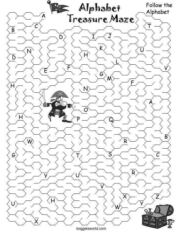 Pirate alphabet treasure map: Capital letters