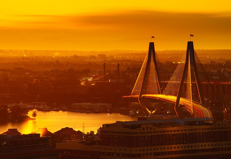 view of Anzac bridge  in proximity to the central business district of Sydney, Australia