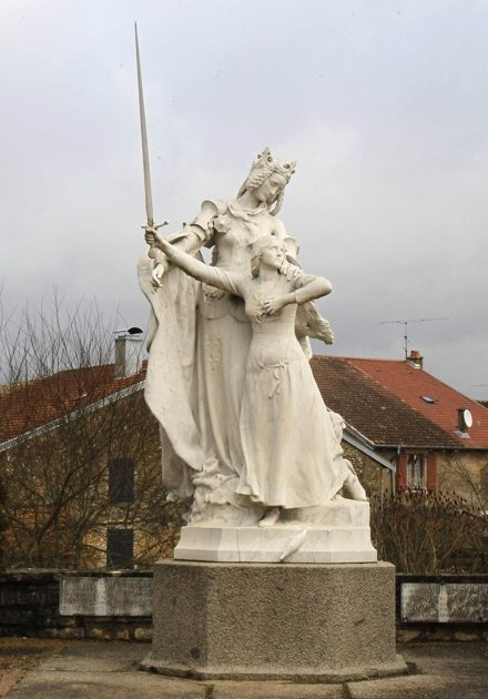 Beautiful statue of the Virgin Mary and St. Joan of Arc in Domremy, France--the saint's birthplace.