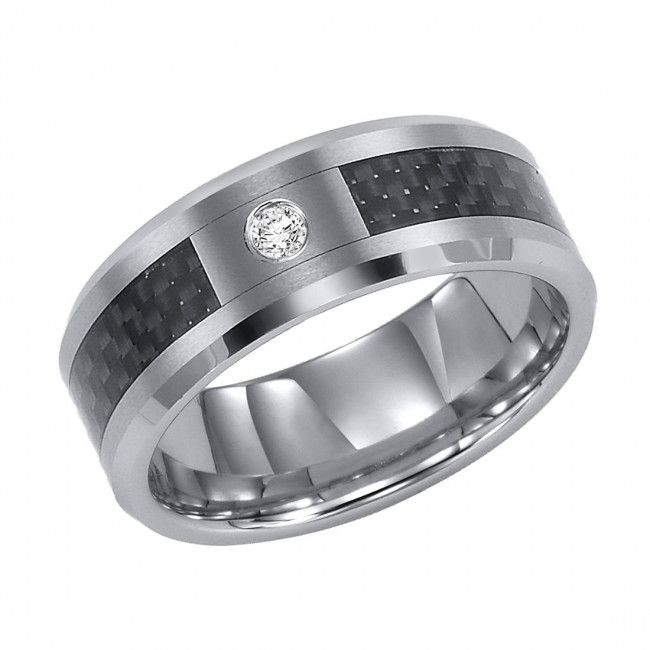Triton, Tungsten Carbide With Black Carbon Fiber 8mm I2-IJ Diamond Wedding Band, 1/20 ctw