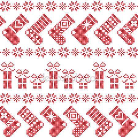 Скачать - Скандинавские северных рождественские картина с чулки, звезды, снежинки, представляет в вышивке крестом в красном — стоковая иллюстрация #78489216