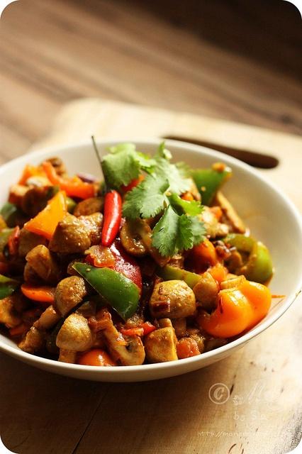 Mushroom-Pepper Curry | Simple Mushroom & Capsicum Curry - Gluten Free, Vegan