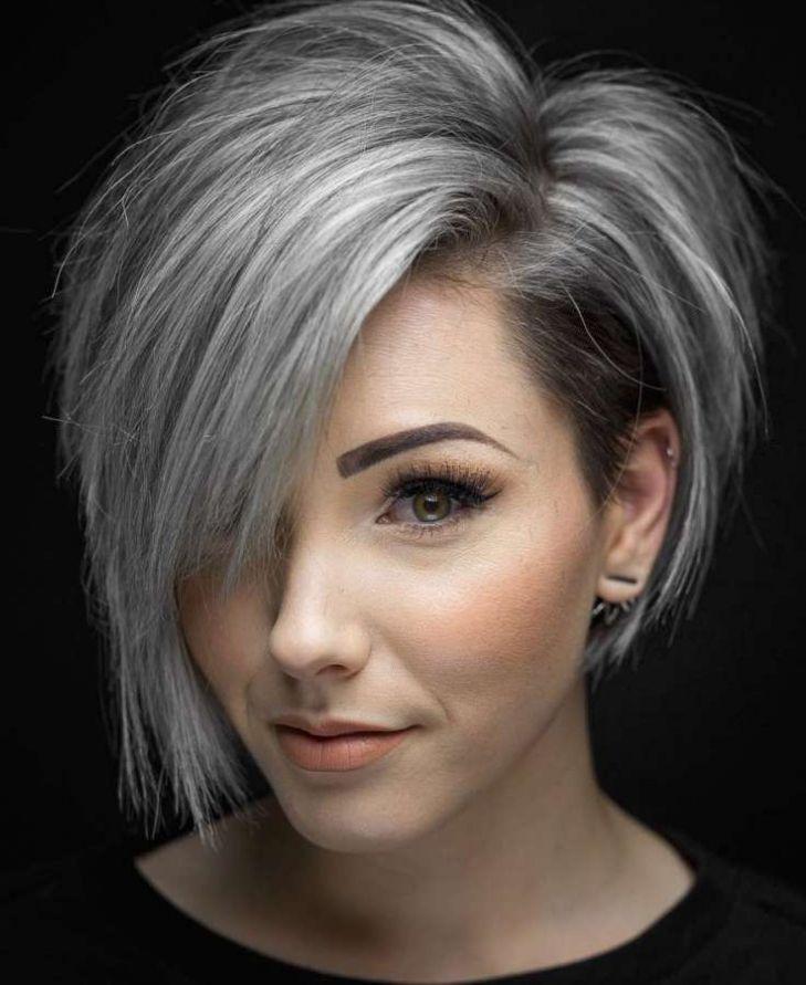 Side Part Asymmetric Short Haircut Short Hair Styles Hair Styles Thick Hair Styles