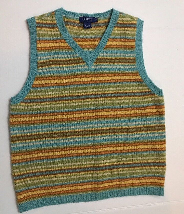 J.CREW Boys sweater vest Size M Multi Color Stripes 100%l wool  | eBay