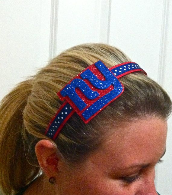 New York Giants Glitter headband by MissPrissHeadbands on Etsy, $9.00
