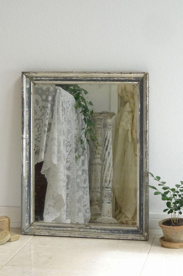 アンティーク 壁掛けミラー(シャビーシルバー) French antique mirror ¥ 34,800yen