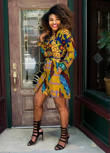 Modern African Dresses - Multipattern Button-up Dress - D'IYANU