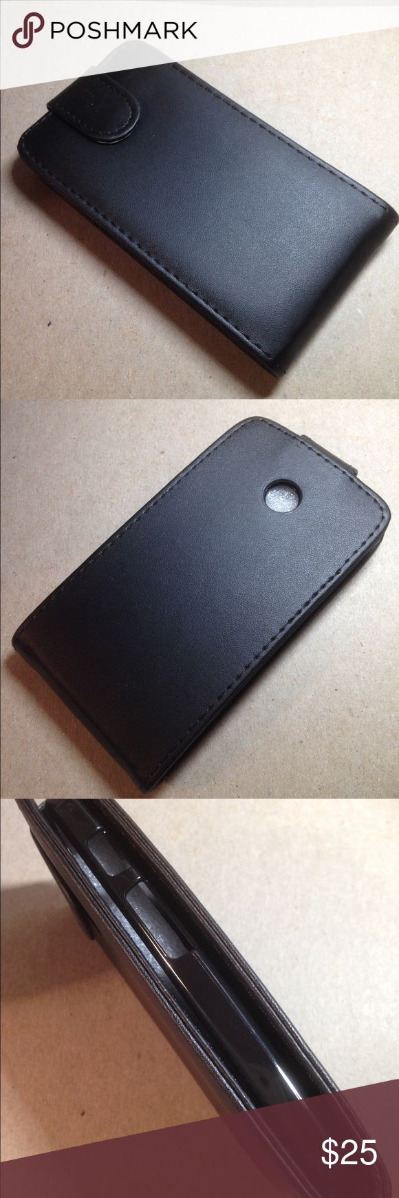 Black leather MotoE 2nd generation case NWT in package, black leather 2nd generation Moto E flip case. Protects screen from scratches and damages with a hard plastic  snap in inner case to keep phone in place. Please see my other listings for additional styles sizes and colors. All sales final no refunds, exchanges or returns Gift boxes not included. Moto E Other