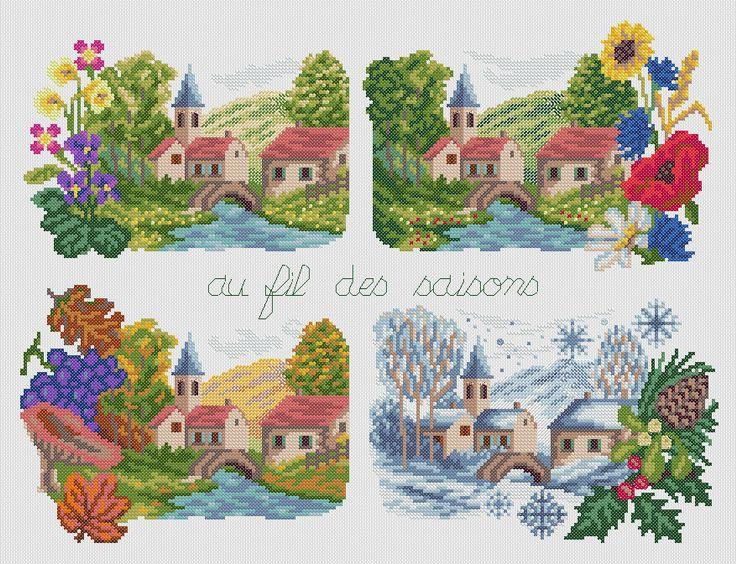 Broderie point de croix Au fil des saisons - Ets Anne Loison