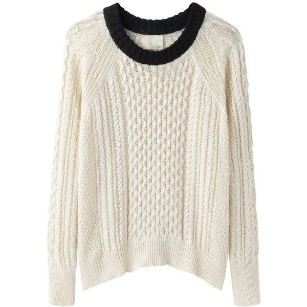 Band of Outsiders Cable Knit Raglan (590 BRL) ❤ liked on Polyvore featuring tops, sweaters, shirts, jumpers, long white sweater, pullover sweater, white cotton sweater, white pullover sweater and long shirt
