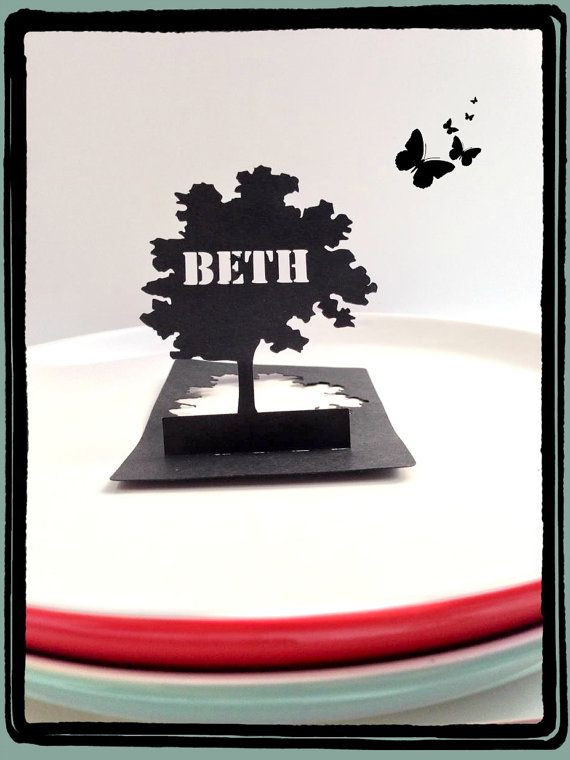 Place Card Tree Silhouette with Name Cut Out 10 by RubyCanoeDesign, $15.00