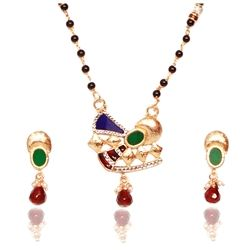 Add color and attractiveness with this splendid mangalsutra set. You will love the kind of personality it adds to you once you wear it. Simply modern and chic.