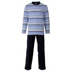 Een vijftal lagen van blauwe lijntjes gescheiden door zwarte strepen bij heren pyjama met donkere broek