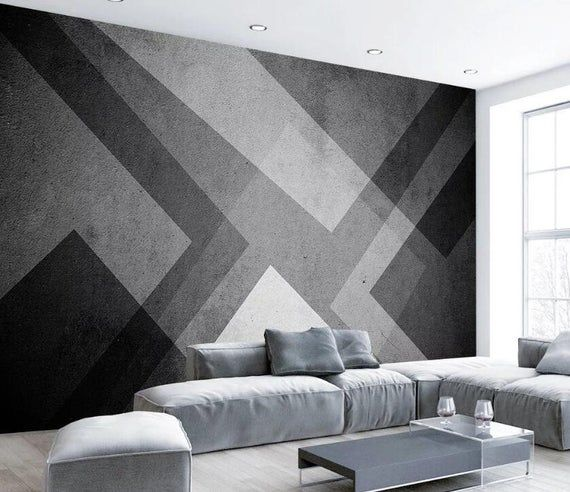 3d Grey Geometry Gngn796 Wallpaper Mural Decal Mural Photo Etsy In 2021 Feature Wall Wallpaper Wall Murals Bedroom Wall Paint