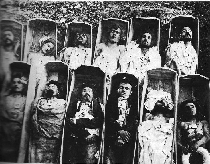 Communards (members and supporters of the 1871 Paris Commune) in coffins. Roughly 20,000 were executed in one week