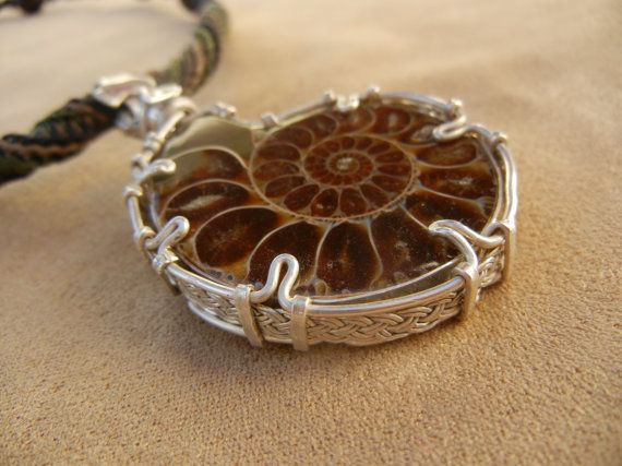 Ammonite Necklace for Men in Green and Beige Micro by Elquino, $224.00