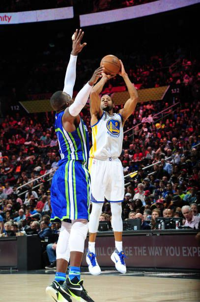 Andre Iguodala of the Golden State Warriors shoots the ball against the Atlanta Hawks on March 6 2017 at Philips Arena in Atlanta Georgia NOTE TO...