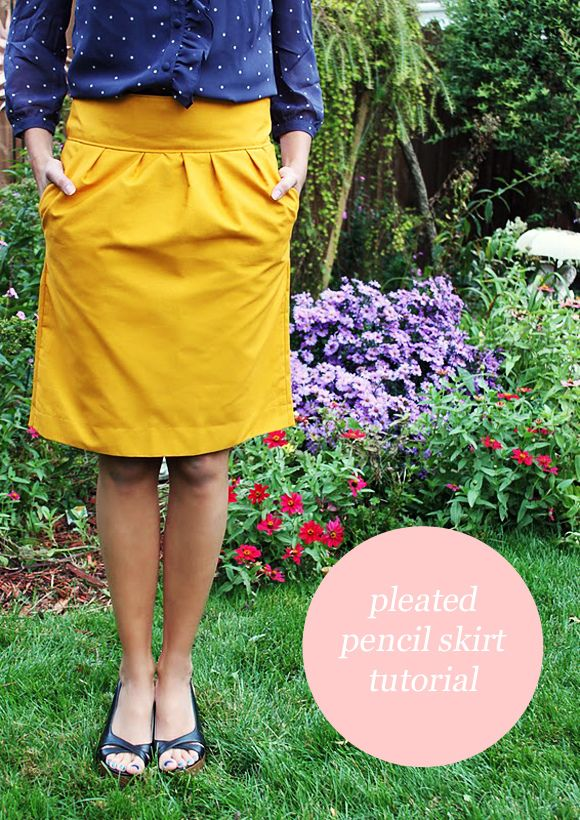 Pleated front skirt tutorial.