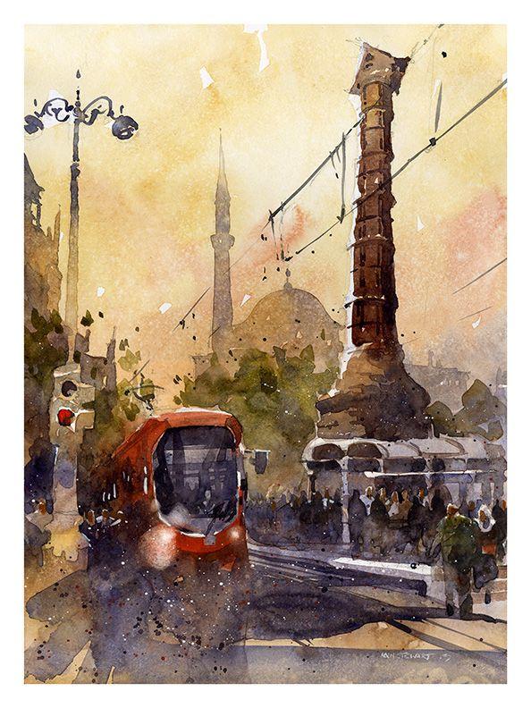 "Constantine's Column- Istanbul 14"" x 10"""