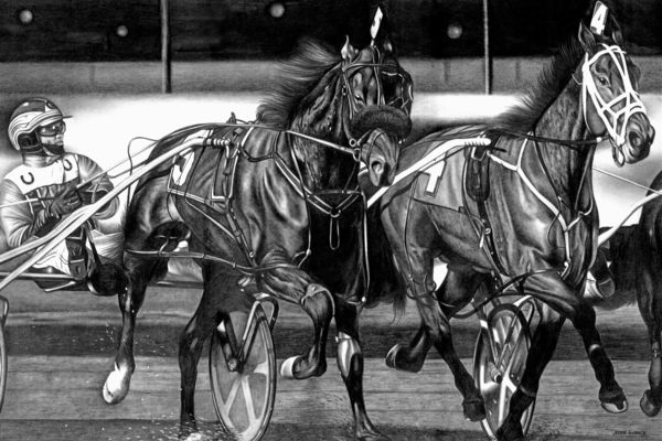 Harness Race Drawing by Jerry Winick
