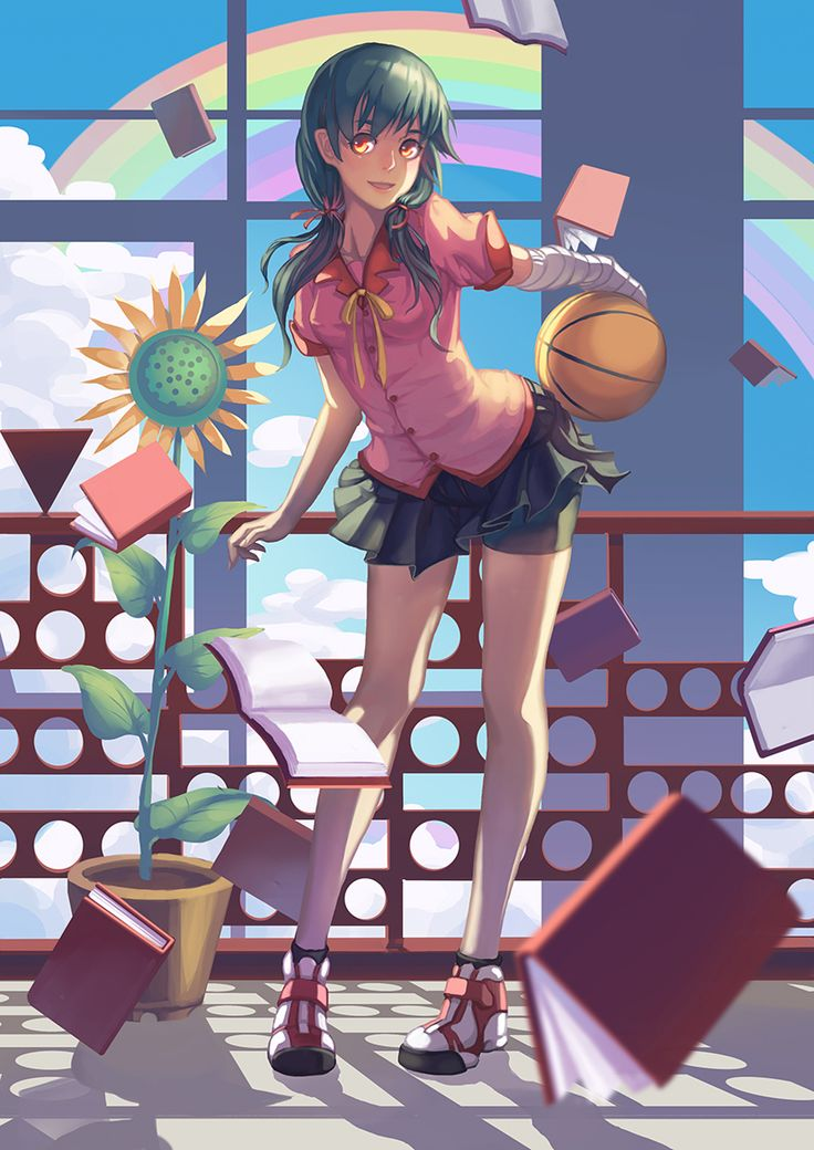 Anime picture 				827x1169 with  		hanamonogatari 		shaft (studio) 		monogatari (series) 		kanbaru suruga 		madyy 		long hair 		single 		tall image 		looking at viewer 		twintails 		sky 		cloud (clouds) 		grey hair 		orange eyes 		girl 		skirt 		uniform 		flower (flowers) 		school uniform 		miniskirt