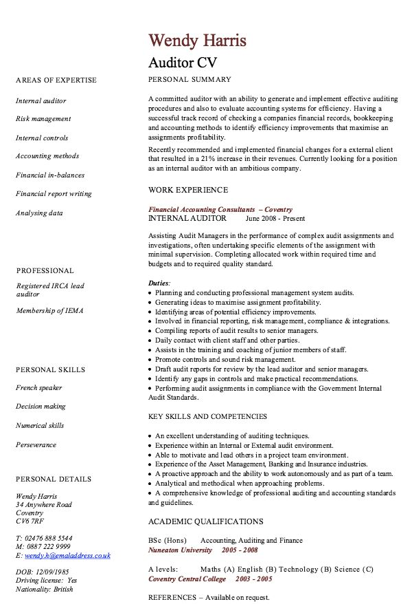 18 best CFA images on Pinterest Resume examples, Sample resume - internal auditor resume sample