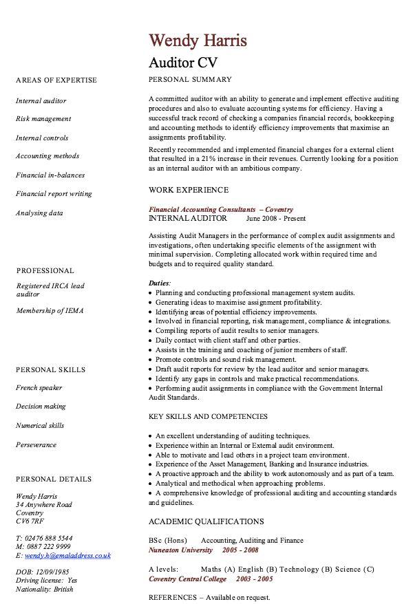 internal auditor resume sample    resumesdesign com