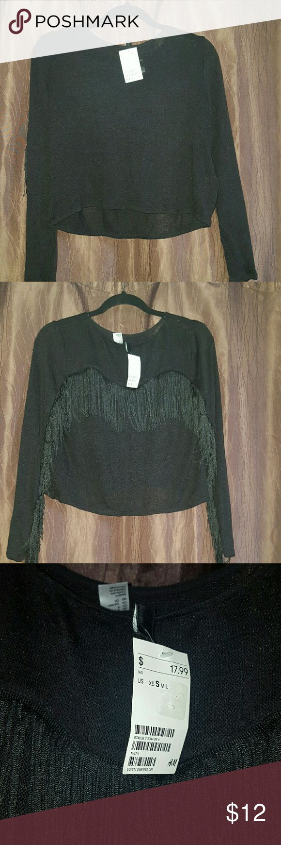 Nwt black fringe top from H&M NWT. Has fringing on the back and arms. H&M Tops