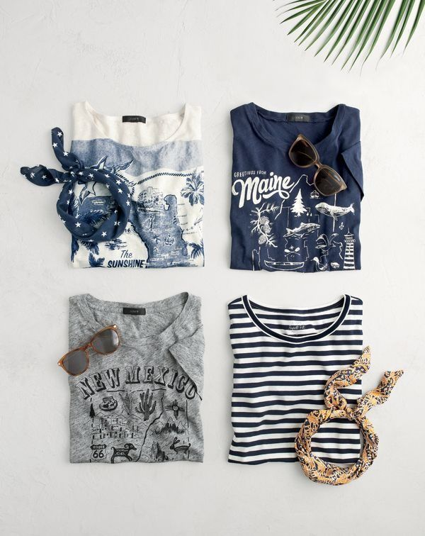 What's your J.Crew personali-tee? Hand-drawn maps of Maine and New Mexico, classic nautical stripes...
