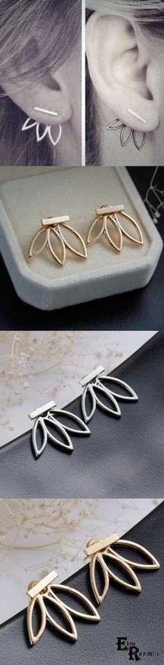 Hollow Flower Earrings in silver