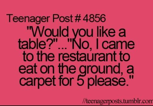 Carpet for five please. Where are we, Arabia?