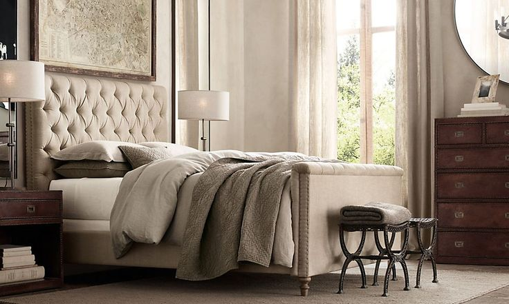Rooms restoration hardware the soft upholserty with the for Restoration hardware bedside tables